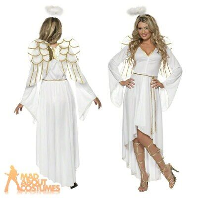 £21.94 • Buy Ladies Angel Costume + Wings Sexy Christmas Women Deluxe Fancy Dress Xmas Outfit