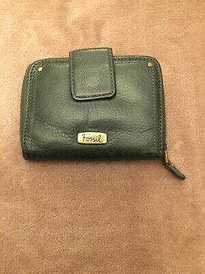 Lovely Leather Fossil Purse In Bottle Green • 10.50£