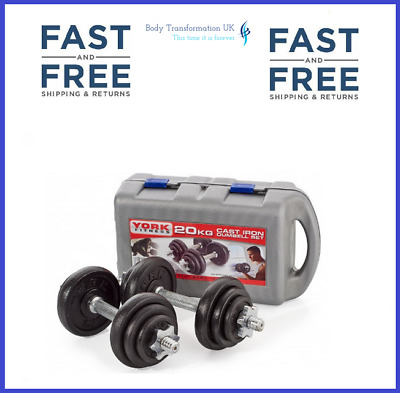 York 20KG Fitness Black Cast Iron Dumbbell Set And Case / Gym Weights, In Stock • 109.99£