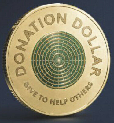AU2.90 • Buy 2020 Australian $1 Donation Dollar Colour Coin  - Give To Help Others - Ram Unc
