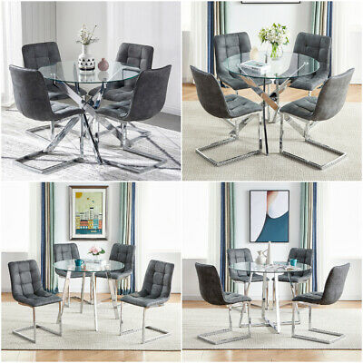 Round Glass Dining Table And 4 Chairs Faux Suede Chrome Leg Kitchen Living Room • 319.97£