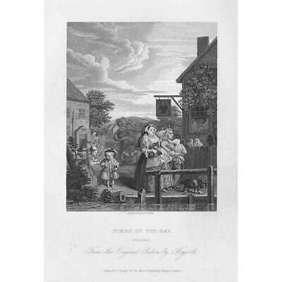 WILLIAM HOGARTH Times Of Day: Evening - Antique Print 1833 • 9.95£
