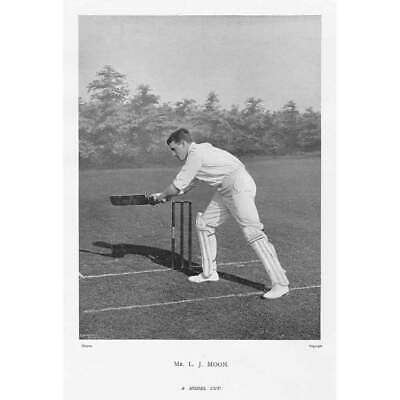 CRICKET L.J Moon, Cambridge University CC - Antique Photographic Print C1899 • 9.95£