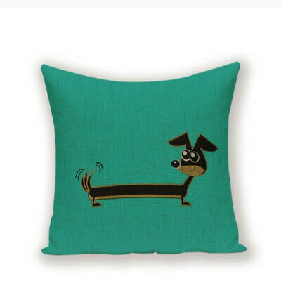 Dachshund Sausage Dog Animals Puppy Cushion Cover Turquoise Green • 6£
