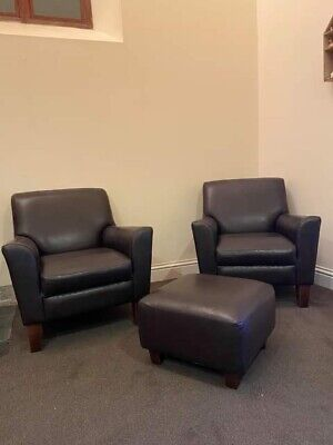£700 • Buy Next Alfie Leather Arm Chairs And Foot Stool