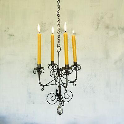 £32 • Buy Rustic Mini Hanging Chandelier, Taper Candle Holder, Small Wire Rust Metal