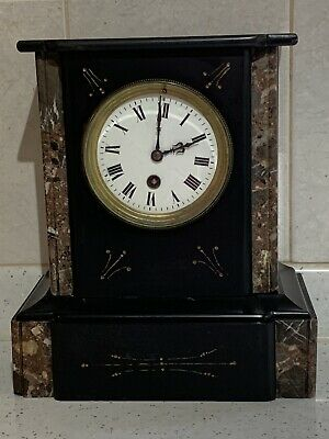 Antique 19th C French Slate & Marble Mantel Clock - Large • 100£