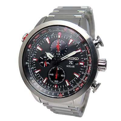 $ CDN367.46 • Buy Seiko Prospex Sky Solar Chronograph Pilots Men's Watch SSC349P1
