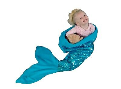 Personalised Mermaid Tail Blanket With Sequins Custom Made Kids & Adult Sizes • 83£