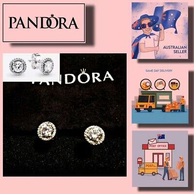 AU59.99 • Buy Christmas Gift Pandora Round Sparkle Stud Earrings Item 296272CZ