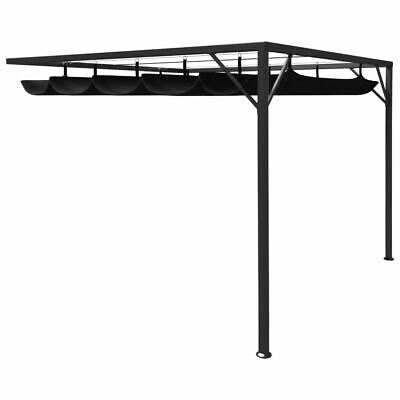 AU260.95 • Buy Wall Gazebo With Retractable Canopy 3x3m Steel Frame Outdoor Garden Sunshade