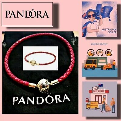 AU53.99 • Buy Christmas Gift Pandora Moments Red Woven Leather Bracelet Item 568777C01-S
