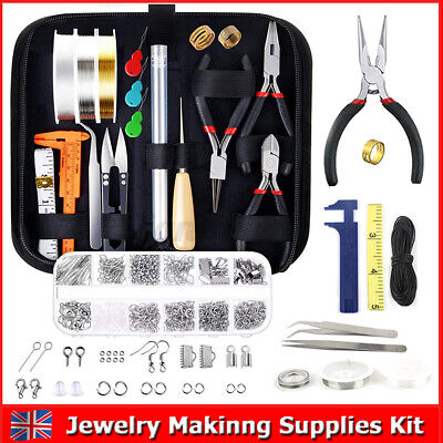 Jewellery Making Tools Set Starter Findings Kit Wire Pliers Necklace Ring DIY  • 6.49£