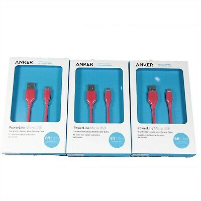 AU34.95 • Buy 3x ANKER POWERLINE MICRO USB CABLE DURABLE HIGH-SPEED CHARGING 1.8M RED A8133H91