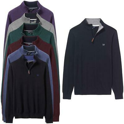 £49.99 • Buy Crew Clothing Mens Long Sleeve Cotton Classic 1/2 Zip Menswear Sweater Red Green