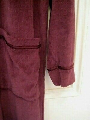 NEW De-branded M&S Velour, Zip Front ROBE, Dressing Gown, 8 - 10, Damson • 9.25£