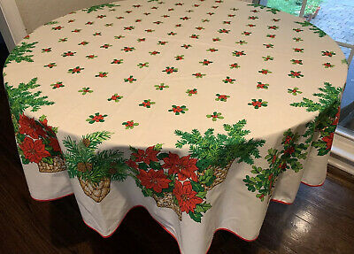 """$ CDN19.60 • Buy VINTAGE Round 72"""" Christmas Tablecloth Poinsettias In Baskets, Holly Berries MOD"""