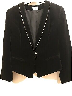 Caroline Charles Black Velvet Evening Jacket Sequin Trim Size 10  • 35£