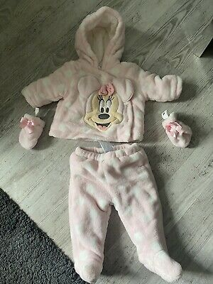 Disney Store Minnie Mouse Baby Girls Snowsuit Top & Trousers Set 6-9 Months • 10£