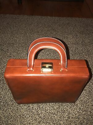 Vintage Faux Leather Brown Vanity Case/bag In Excellent Condition • 25£