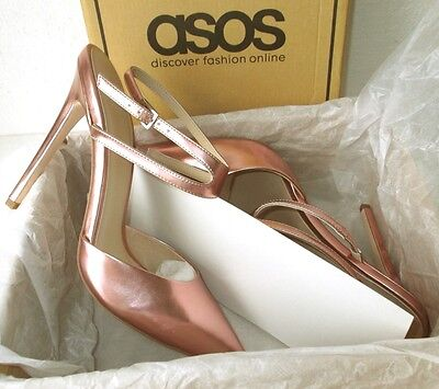 NEW ASOS 'Picture' Pink Metallic Pointed High Heel Ankle Strap Shoes UK Size 7 • 29.95£