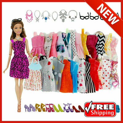 $ CDN11.66 • Buy 42 Pack For Barbie Doll Clothes Party Gown Outfits Shoes Glasses Necklaces Girls