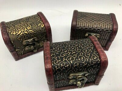 Set Of 3 Wooden Boxes Colonial Style Trinket Treasure Chest Vintage Storage  • 9.99£