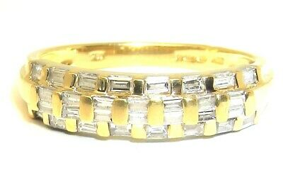 18ct Gold Diamond Ring 0.5ct Baguette Eternity  Wedding Band 18carat Yellow Gold • 375£
