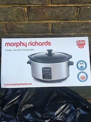 Morphy Richards Oval Silver Slow Cooker 3.5 Litres. Casarole Stew Broth Winter • 24.99£