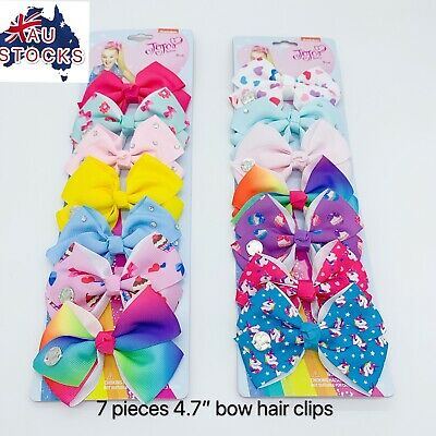 AU9.95 • Buy 7pcs 4.7inches Jojo Siwa Bows Girls Hair Clips Gift Pack
