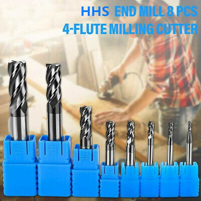 £15.71 • Buy 8pcs 4 Flute Solid Carbide End Mill Router Bits CNC Tungsten Steel Cutter Tool