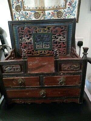 £495 • Buy Antique Chinese House Altar. Hand Carved Camphor Wood. Drawers. Chest