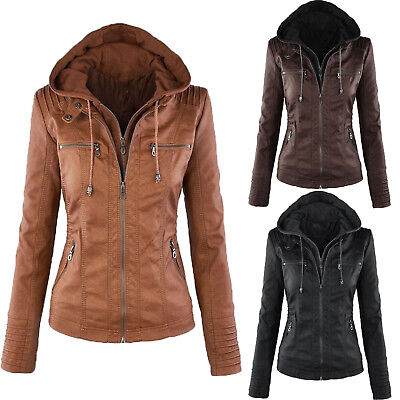 Ladies Womens Motorcycle Hooded PU Leather Biker Jacket Coats Parka Outerwear UK • 30.68£