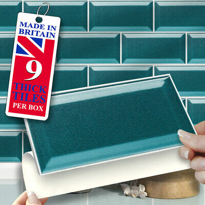 "Self Adhesive Wall TilesPk of 9 Teal 8/""x4/"" Stick On Wall TilesSubway Style"