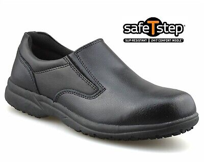 Mens New Leather Slip On Wide Fit Memory Foam Casual Walking Work Shoes Sizes • 15.98£