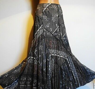 38-39  Long Per Una Crinkle Ethnic Boho Fully Lined Patchwork Maxi Skirt 20l • 12£