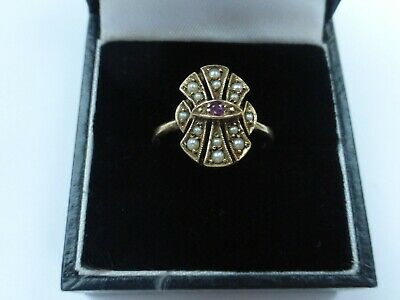 Art Deco Style 9ct Gold Ruby & Seed Pearl Ring - Size P • 125£