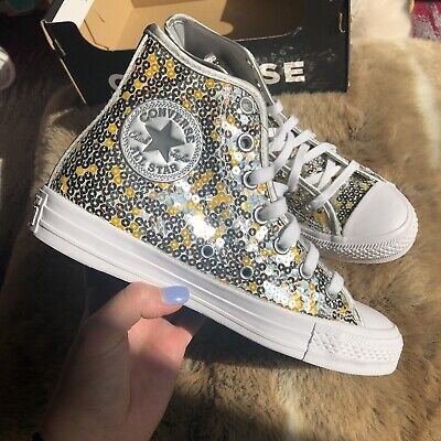 Converse All Star Sequin Silver High Top Trainers Size Uk 4.5 BNWB • 39.99£