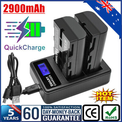 AU32.99 • Buy 2x 2900mAh NP-F550 Battery & USB Dual Charger For Sony NP-F570 NP-F750 NP-F970