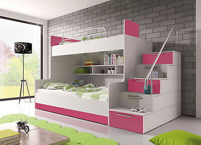 NEW Bunk Bed Children Kids Cabin Twin Sleeper Stairs Modern High Gloss Inserts  • 700£
