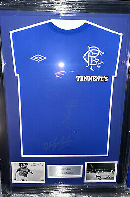 Signed Framed Rangers Home Shirt By Willie Johnston And Colin Stein 1972 Cup Win • 169.99£