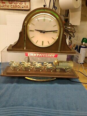 $ CDN235.18 • Buy Vintage Budweiser Clydesdale Team Bar Light With Clock 1982