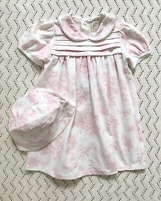 Emile Et Rose Floral Print Dress With Hat And Bloomers 9-12 Months • 14£