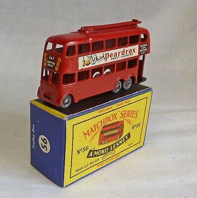 Moko Lesney Matchbox MB56a Trolley Bus With GPW &  Peardrax  Decals • 36£