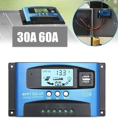 30/40/60A MPPT Solar Panel Battery Regulator Charge Controller 2 USB UK Quality • 15.99£