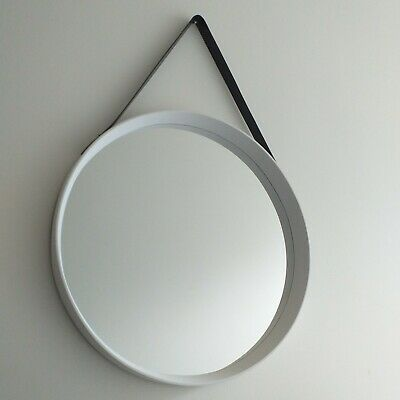 Large White 50 Cm Round Deep Frame Mirror With Faux Leather Strap Wall Mirror  • 22.50£