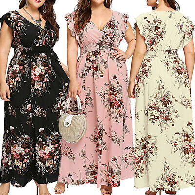 AU27.89 • Buy Womens Floral Boho V Plunge Dres Ladies Maxi Wrap Holiday Summer Dress Plus AU