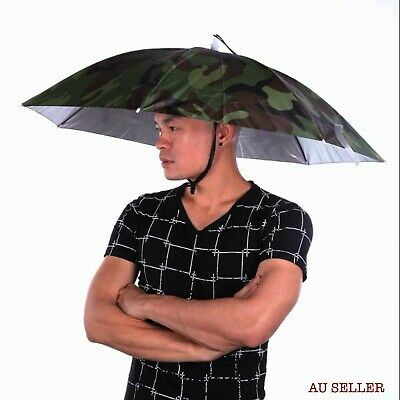 AU24.99 • Buy Portable Rain Umbrella Hat Army Green Foldable Outdoor Sun Shade Waterproof
