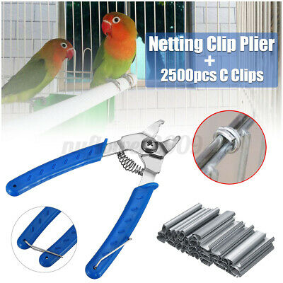16mm Fencing Plier+2500X Hog Rings C Clips For Mesh Cage Wire Aviary Netting • 9.29£