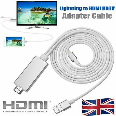 For Lightning To HDMI Cable TV AV Adapter Charger For IPad Air IPhone 11 12 X 2M • 6.99£